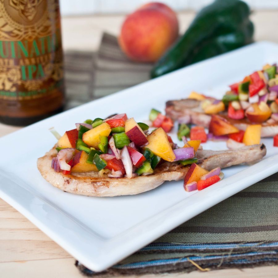 IPA Marinated Citrus Pork Chops With Peach Poblano Salsa