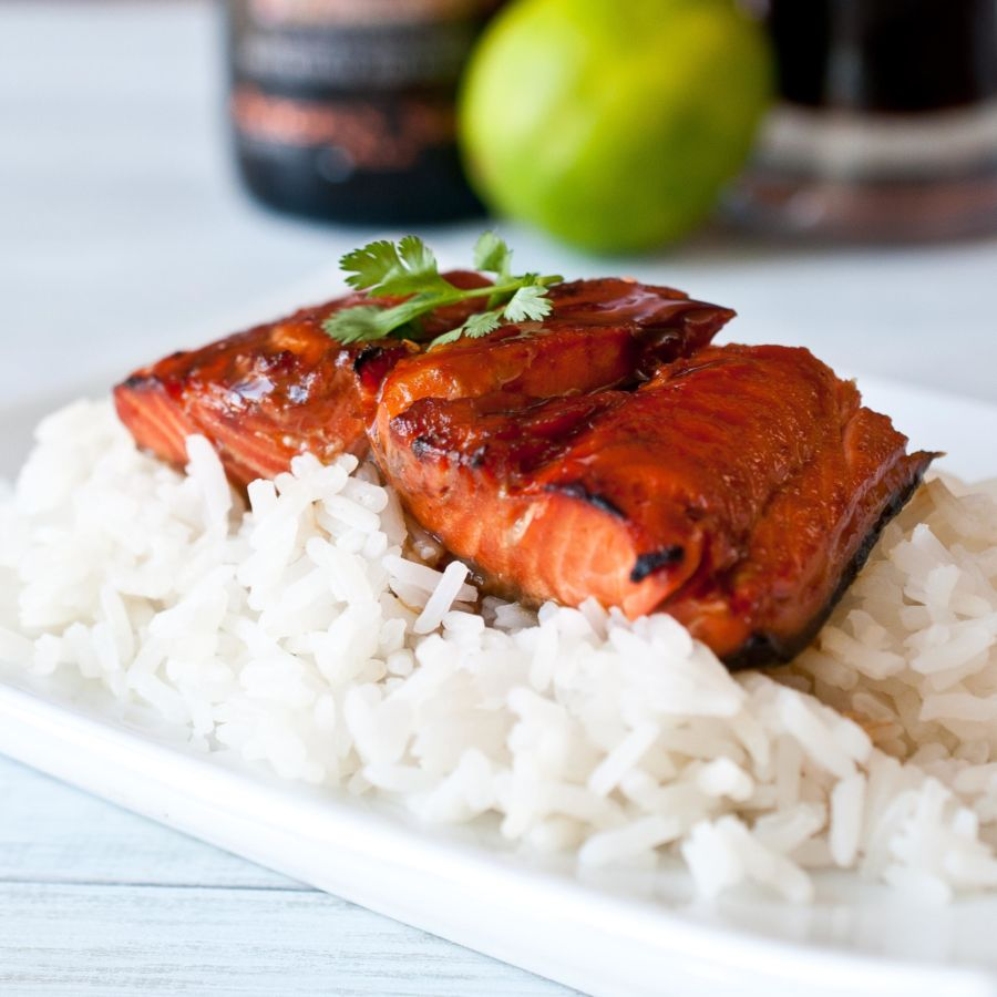 Maple and Bourbon Beer Glazed Salmon