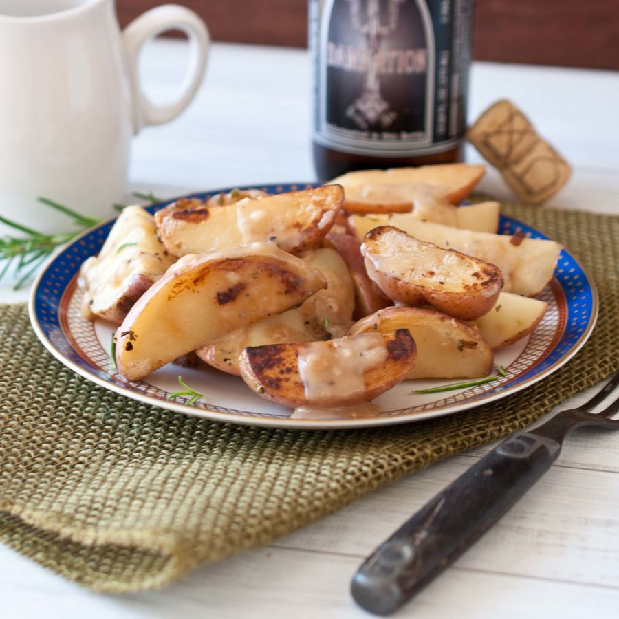 Beer Braised Potatoes With Rosemary Beer Gravy