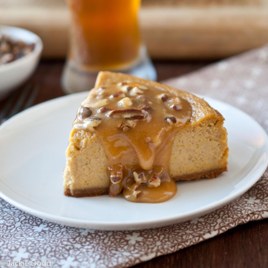 Pumpkin Ale Cheesecake with Beer Pecan Caramel Sauce