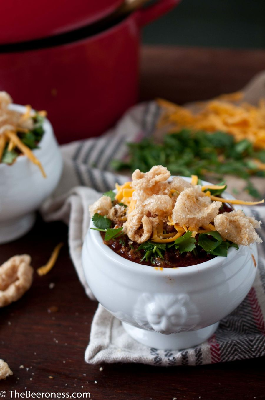 Chipotle Stout And Chorizo Chili with Pork RInds