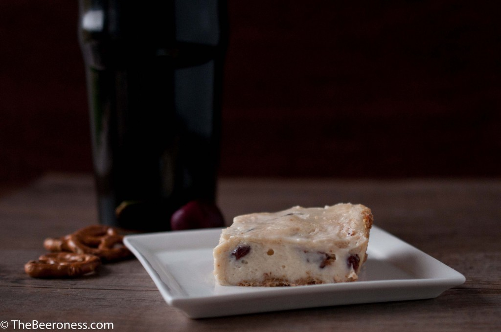 Stout Soaked Cherry Cheesecake Bars with Pretzel Crust2