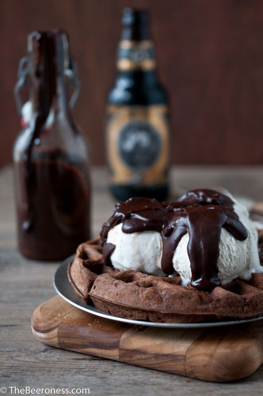 Chocolate Stout Waffle Sundae with Chocolate Stout Fudge Sauce