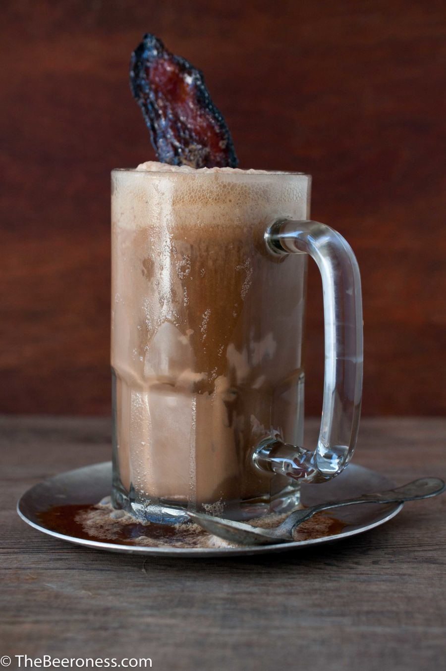 Smoky Chocolate Porter Ice Cream with Beer Candied Bacon