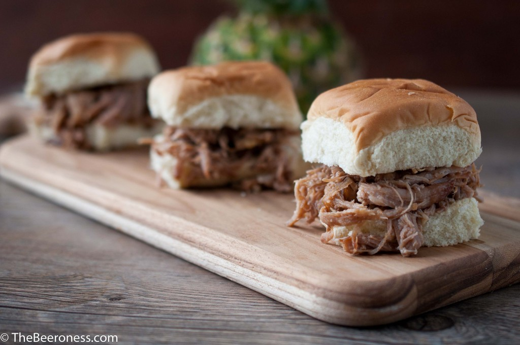 Hawaiian IPA Pineapple Pulled Pork Sliders, made in a slow cooker
