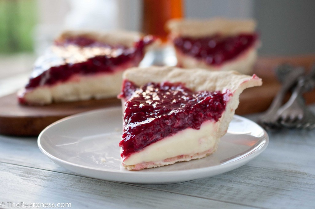 Lemon Cream Pie with Raspberry Beer Sauc e