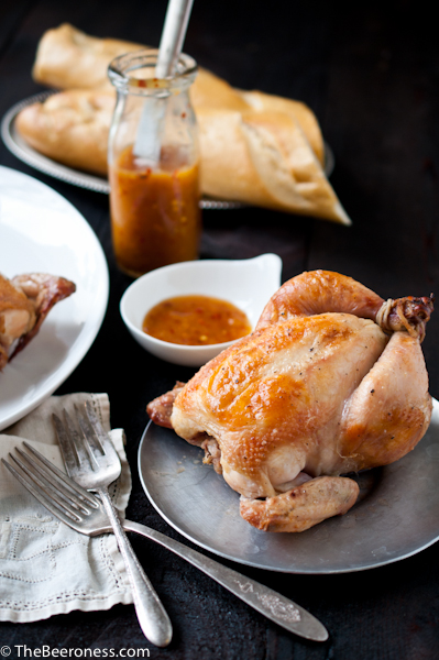 Beer Brined Roasted Cornish Game Hens with Orange Chili Sauce