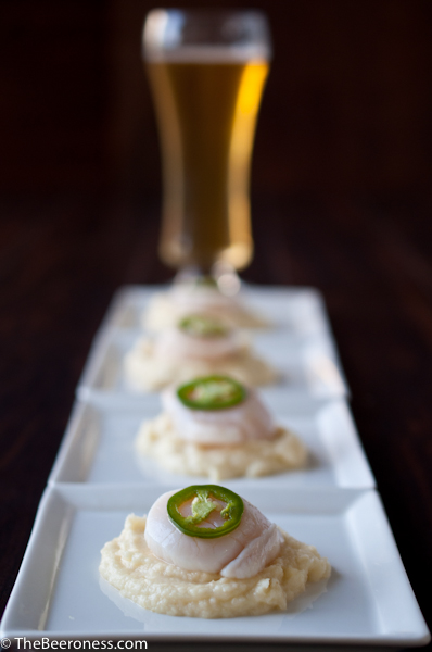 Citrus Cooked Scallops with Smoky IPA Parsnip Puree and Beer Pickled Jalapenos