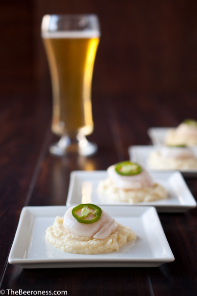 Citrus Cooked Scallops with IPA Parsnip Puree and Beer Pickled Jalapenos3