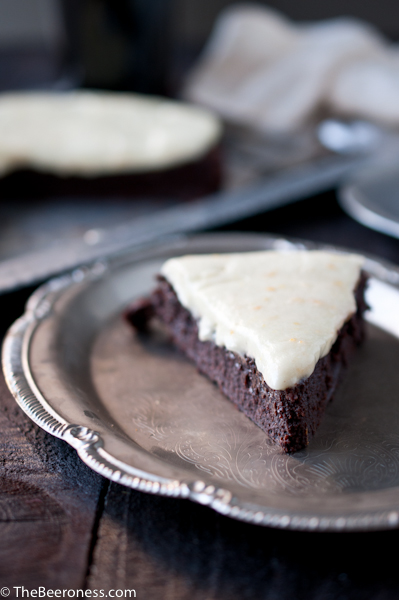 Flourless Chocolate Stout Cake with Orange Mascarpone Frosting 8