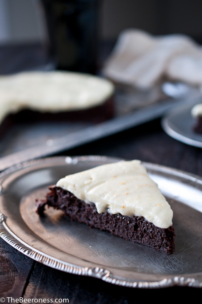 Flourless Chocolate Stout Cake with Orange Mascarpone Frosting 9