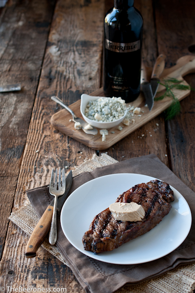 Beer Marinated Steak with Porter Gorgonzola Butter via @TheBeeroness