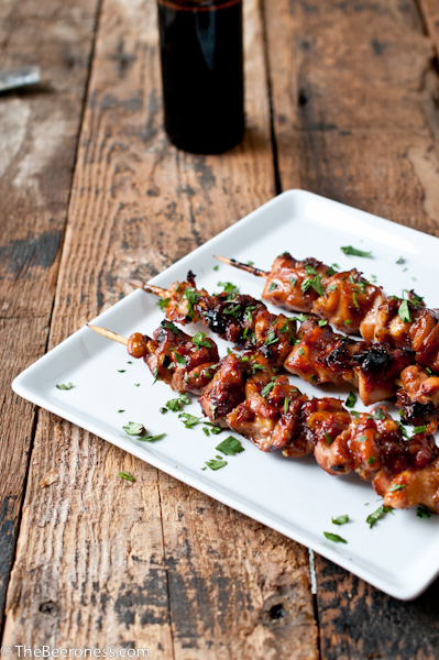 Honey Porter Glazed Chicken Skewers (grill or oven method listed) via @TheBeeroness