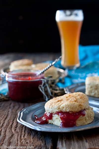 Honey Beer Biscuits with Strawberry Belgian Ale Sauce