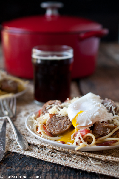 Beer Brat Pasta Carbonara for Oktoberfest