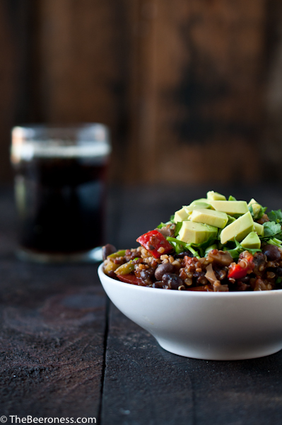 Mushroom Quinoa Porter Chili, vegan and gluten free