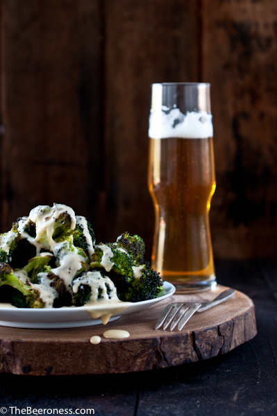 Roasted Broccoli with Beer Cheese Sauce 2