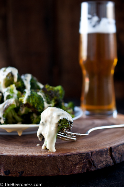 Roasted Broccoli with Beer Cheese Sauce 3
