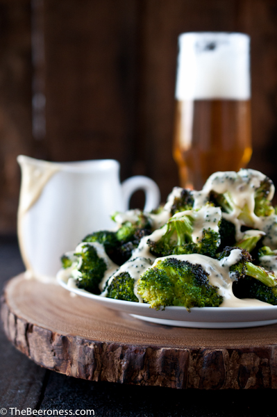 Roasted Broccoli with Beer Cheese Sauce_