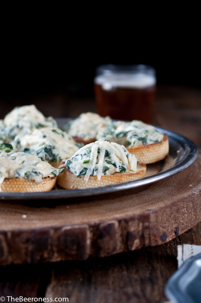 Spinach Artichoke Beer Cheese Crostini 2