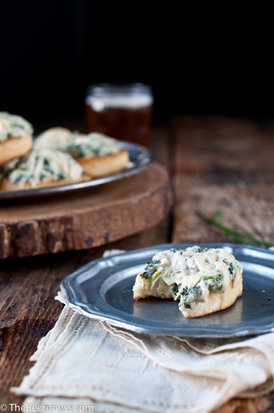 Spinach Artichoke Beer Cheese Crostini 3