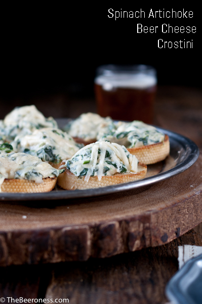 Spinach Artichoke Beer Cheese Crostini