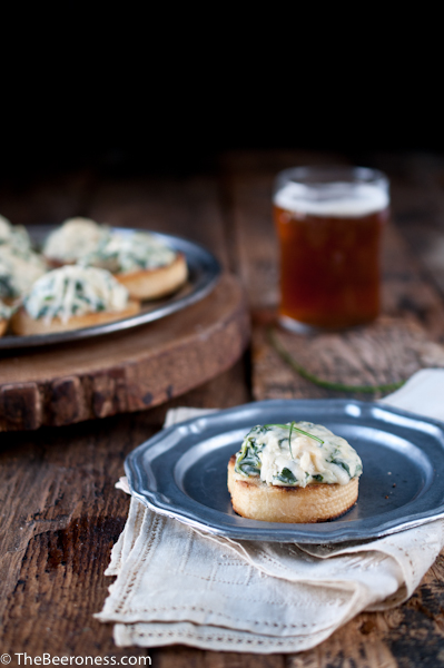 Spinach Artichoke Beer Cheese Crostini_