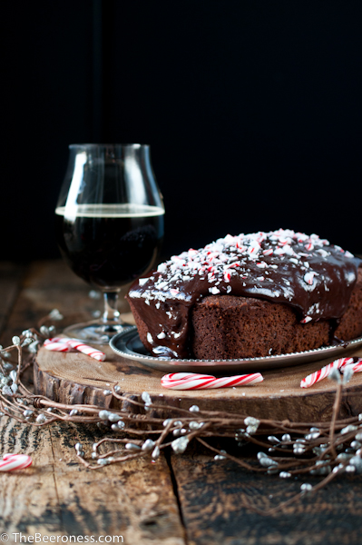Chocolate Stout Candy Cane Cake