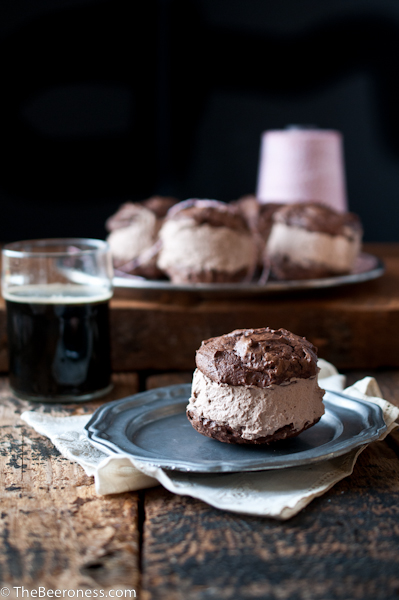 Chocolate Stout Ice Cream Sandwiches. With a homemade, 5 minute, no-ice-cream-maker filling.