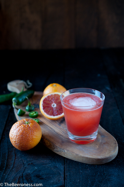 Bloody Hell: Blood Oranges, Jalapeno, Whiskey and Beer Cocktail