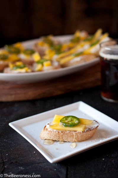 Goat Cheese Crostini with Beer Pickled Jalapenos and Mangos3