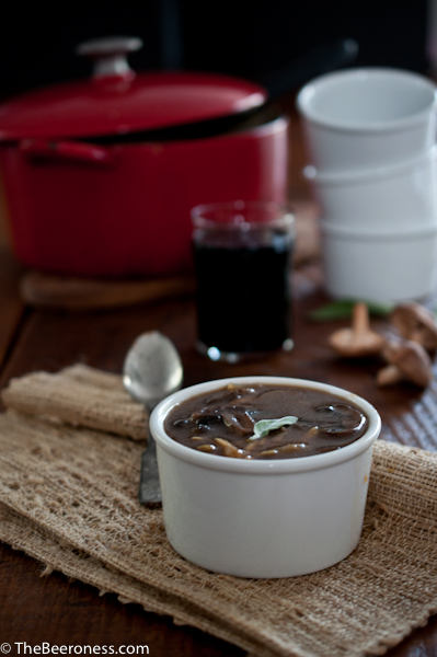 Mushroom Orzo and Stout Soup