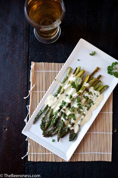 Roasted Asparagus with Beer Béarnaise Sauce