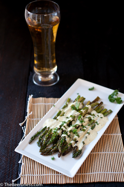 Roasted Asparagus with Beer Bernaise_