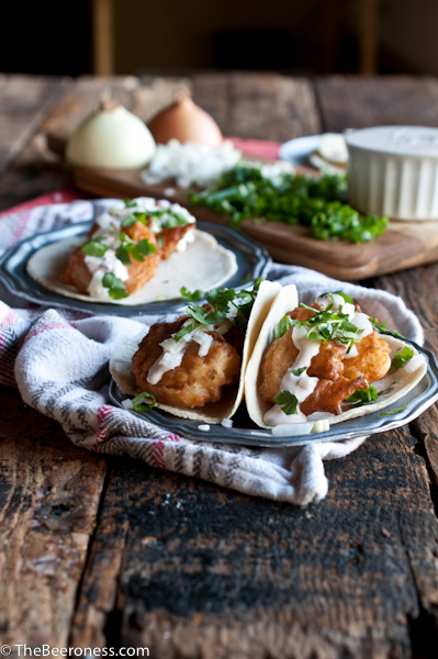 Beer Battered Shrimp Tacos with Cipotle Lime Crema