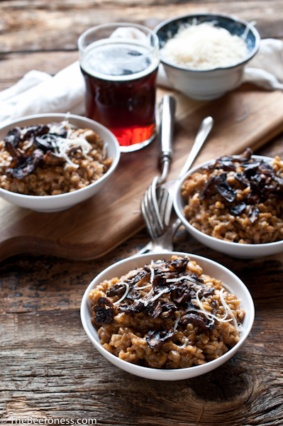 Brown Ale Farro Risotto with Roasted Mushrooms