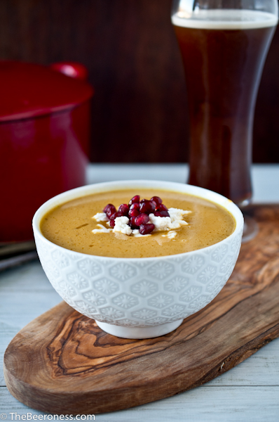 Irish Red Ale Butternut Squash Soup with Goat Cheese and Pomegranate