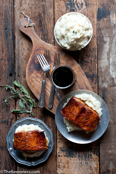 Molasses Stout Glazed Salmon with Herb IPA Mashed Potatoes