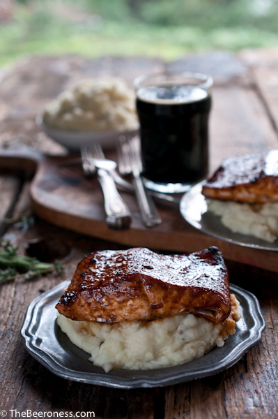 Molasses Stout Glazed Salmon with Herb IPA Mashed Potatoes_