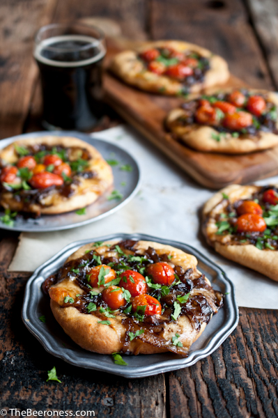 Porter Caramelized Flatbreads with Smoked Gouda and Roasted Tomatoes_