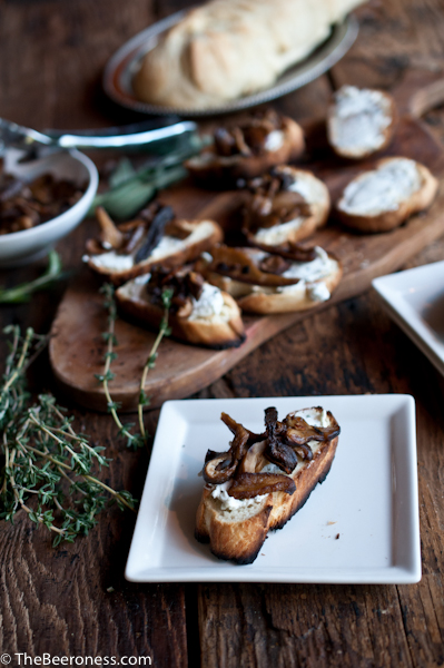 Stout Soaked Mushrooms and Herbed Goat Cheese Crostinis