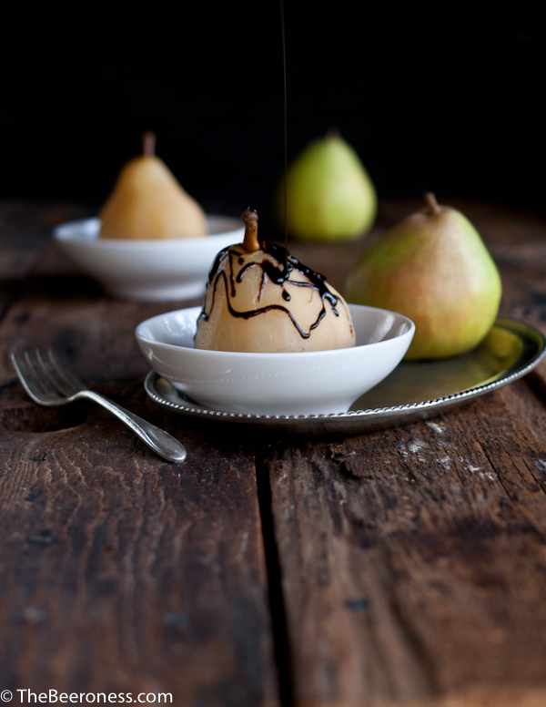Beer Poached Pears with Chocolate Stout Fudge Sauce and Moose Munch Crumble_