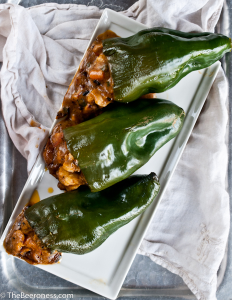 Chicken and Beer Cheese Stuffed Poblano