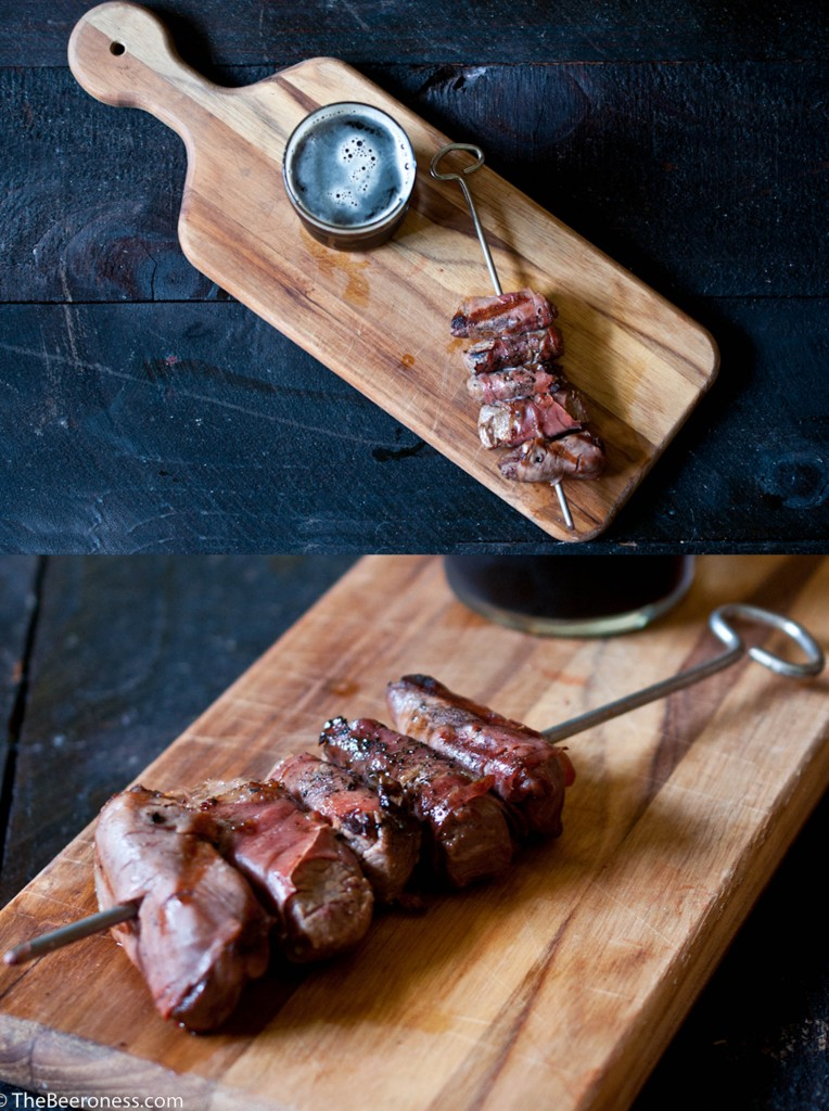 Grilled Beer Marinated Prosciutto Wrapped Fillet Tip Skewers7