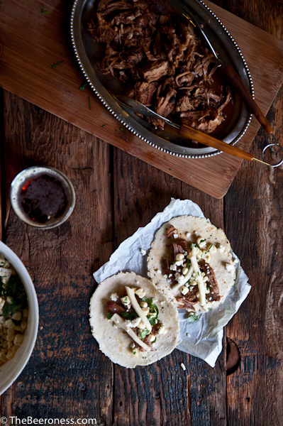 Beer Braised Pork Ribs Tacos with IPA Pickled Jicama_