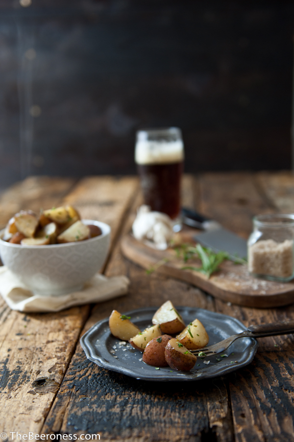 Garlic Herb Beer Butter Roasted Potatoes