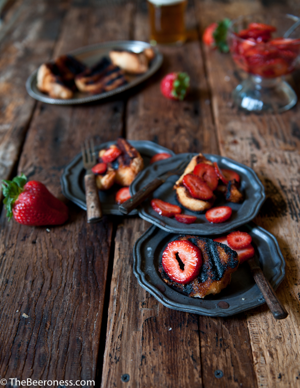 Grilled Angel Food Cake with Beer Macerated Strawberries 2