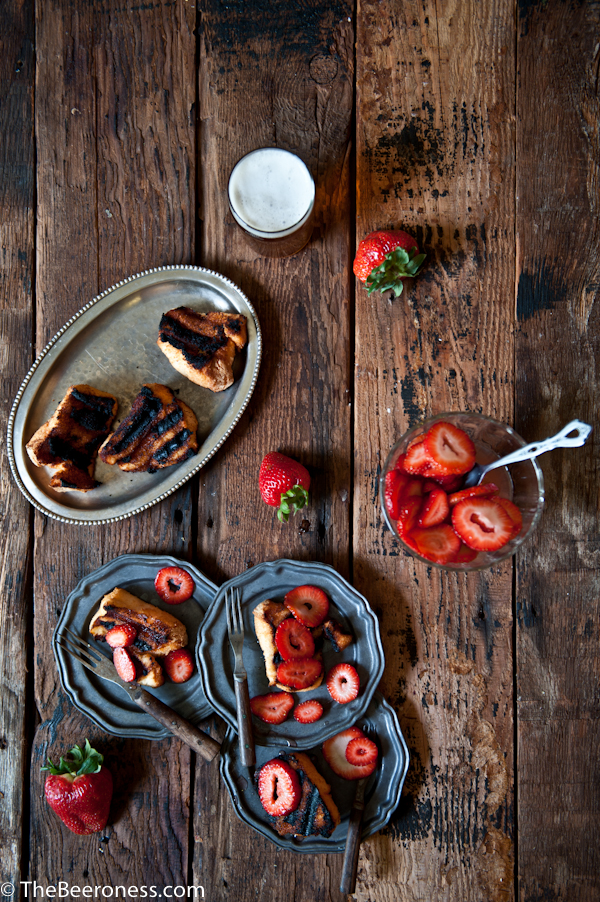 Grilled Angel Food Cake with Beer Macerated Strawberries_