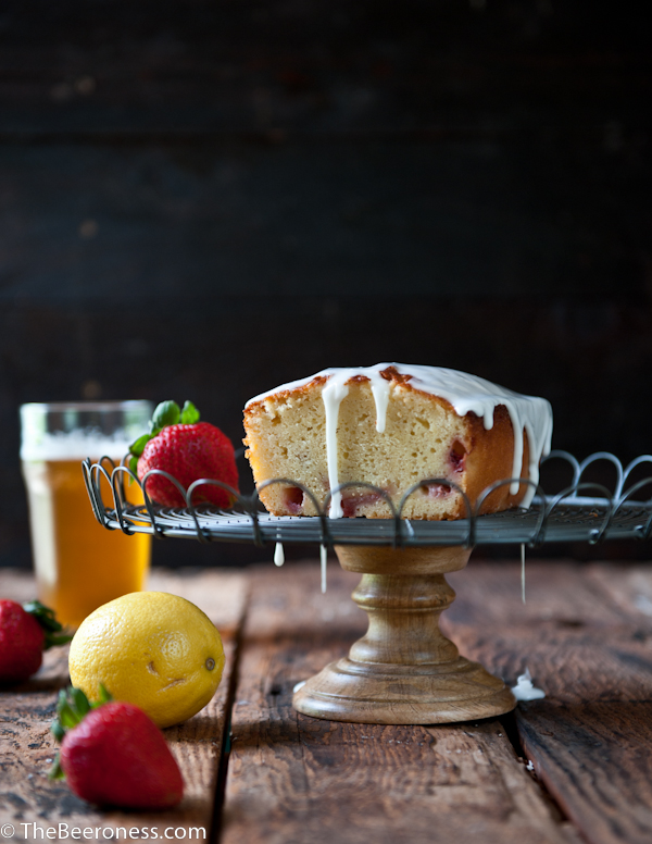 Strawberry Lemonade Beer Pound Cake