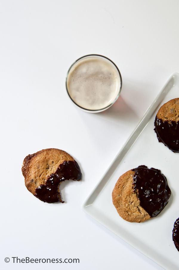 Chocolate Dipped Peanut Butter Stout Chocolate Chip Cookies2